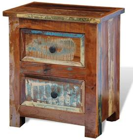 241643 vidaXL Mesa de cabeceira com 2 gavetas, madeira reciclada maciça