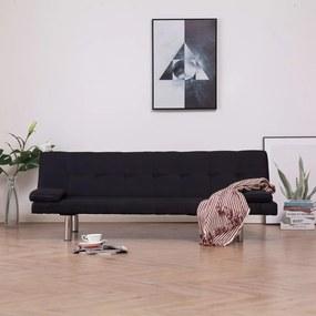 Sofá-cama com duas almofadas poliéster preto