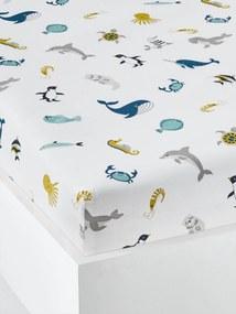 Lençol-capa para criança, tema Abecedário de animais marinhos branco claro estampado
