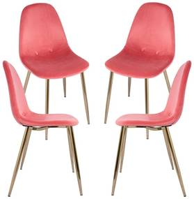 Pack 4 Cadeiras Teok Velvet Buttons Pernas Douradas