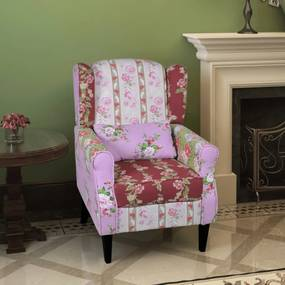 240490 vidaXL Poltrona de tecido com design de retalhos