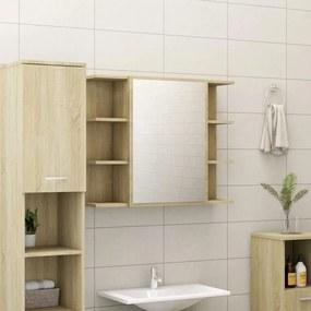 802609 vidaXL Armário casa banho c/ espelho 80x20,5x64cm contrapla. carvalho