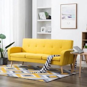 Sofá de 3 lugares em tecido amarelo