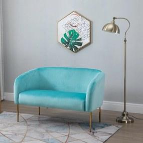 HOMCOM Sofá de 2 lugares moderno com pernas metálicas Assento acolchoado Apoios de braço e encosto curvos 124x73x76 cm Azul