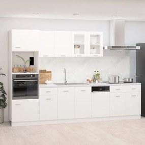 3067623 vidaXL 7 pcs conjunto armários de cozinha contraplacado branco