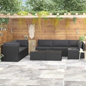 9 pcs conjunto lounge de jardim c/ almofadões vime PE preto