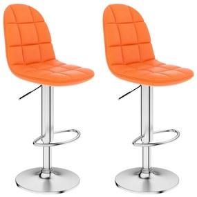 249789 vidaXL Bancos de bar 2 pcs couro artificial laranja