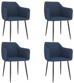 3068667 vidaXL Cadeiras de jantar 4 pcs tecido azul
