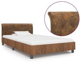 284888 vidaXL Estrutura de cama 90x200 cm camurça artificial castanho