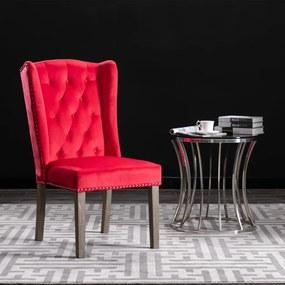 287957 vidaXL Cadeira de jantar veludo vermelho