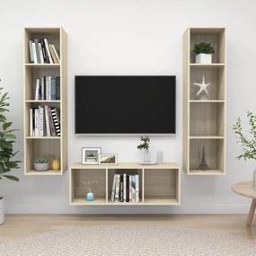 3079757 vidaXL 3 pcs conjunto de móveis de TV contraplacado carvalho sonoma