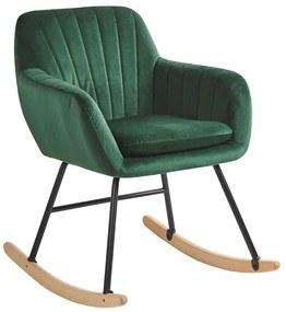 Cadeira de baloiço em veludo verde esmeralda LIARUM