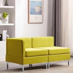 287037 vidaXL 2 pcs conjunto de sofás tecido amarelo