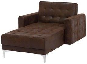 Sofá chaise longue em pele sintética castanha ABERDEEN