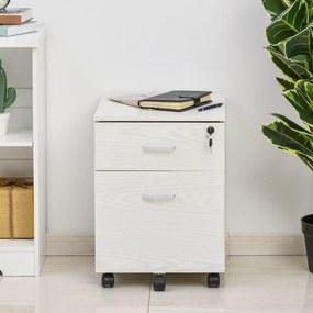 Vinsetto Armário móvel para arquivos A4 com rodas 2 gavetas e fechadura 40x44x54,6 cm Branco