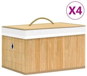320765 vidaXL Caixas de arrumação 4 pcs bambu