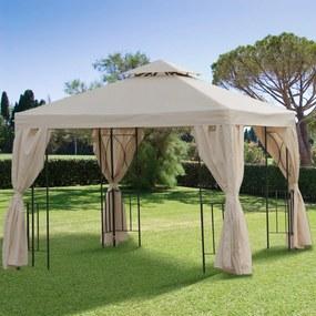 Outsunny Pérgola de jardim de 3 x 3 m com 4 cortinas laterais removíveis com zíper, 8 orifícios de drenagem e telhado duplo bege