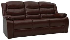 288503 vidaXL Sofá reclinável de 3 lugares couro artificial castanho