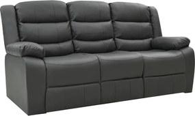 Sofá reclinável de 3 lugares couro artificial cinzento