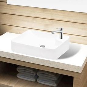 141934 vidaXL Pia de cerâmica para banheiro + furo torneira, branco