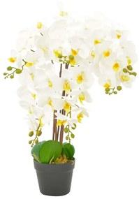 280165 vidaXL Planta orquídea artificial com vaso 60 cm branco