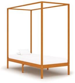 283257 vidaXL Estrutura de cama com toldo 100x200cm pinho maciço castanho mel