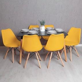 Conjunto Mesa Tower Retangular 120 x 80 cm Preta e Pack 6 Cadeiras Tilsen