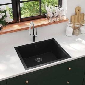 147069 vidaXL Lava-louça cozinha c/ orifício extravasamento granito preto