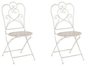 Conjunto de 2 cadeiras de jardim creme em metal TRIESTE