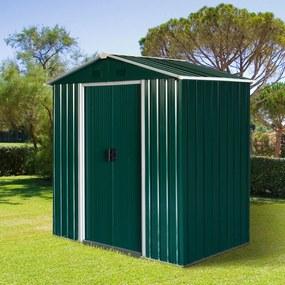 Outsunny Galpão de jardim 2,2 m² Galpão de armazenamento de ferramentas de aço galvanizado com porta deslizante 194x110x184 cm Verde