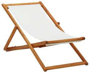 310314 vidaXL Cadeira praia dobrável madeira de eucalipto/tecido branco nata