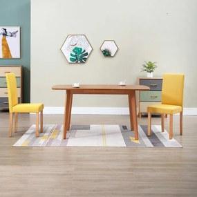 Cadeiras de jantar 2 pcs tecido amarelo