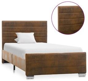 286800 vidaXL Estrutura de cama 100x200 cm camurça artificial castanho