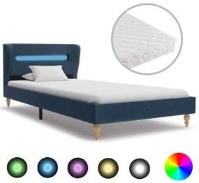 277698 vidaXL Cama com LED e colchão 90x200 cm tecido azul