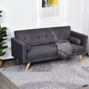 Sofá- cama 3 lugares com apoio de braços Pernas levantadas 187x90x86.5 Cinza