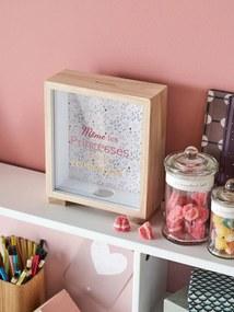 Quadro-mealheiro, Princesa rosa claro liso com motivo