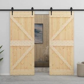 Porta de correr com ferragens 90x210 cm madeira de pinho maciça
