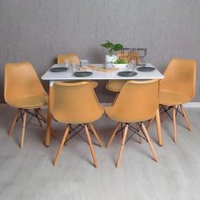 Conjunto Mesa Tower Retangular 120 x 80 cm Branca e Pack 6 Cadeiras Tilsen