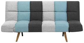 Sofá-cama de 3 lugares em tecido patchwork cinzento e azul INGARO