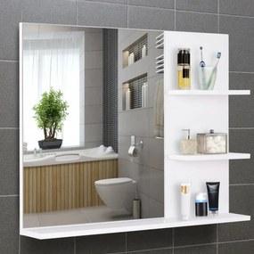 Espelho de parede para banheiro com 3 prateleiras 60x10x48 cm Branco