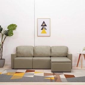 288800 vidaXL Sofá-cama modular de 3 lugares couro artificial cappuccino