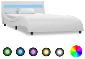 285672 vidaXL Estrutura de cama com LED 90x200 cm couro artificial branco