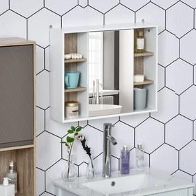 HOMCOM Armário de banheiro com espelho com espaço interior e prateleiras abertas 60x14.5x49.4 cm