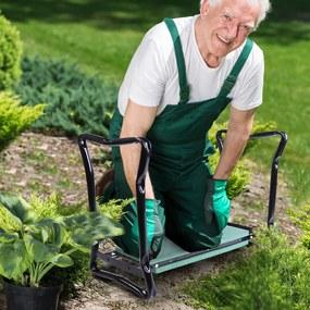 Outsunny Banco de jardim reclinável portátil e dobrável Banco de joelho carga 150kg almofada de espuma EVA 58x28x49cm preto e verde