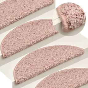 322376 vidaXL Tapete/carpete para degraus 15 pcs 56x17x3 cm rosa claro
