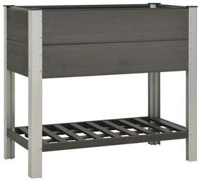149015 vidaXL Canteiro elevado jardim c/ prateleira 100x50x90 cm WPC cinzento