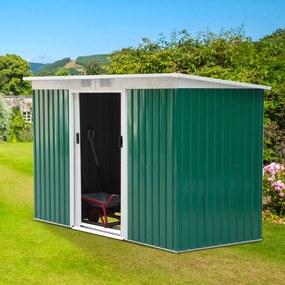 Outsunny Galpão de jardim de metal para armazenamento de ferramentas 277x130x173cm Aço verde