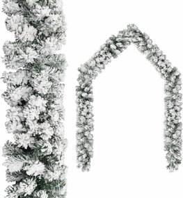 Grinalda de Natal com neve 10 m PVC verde