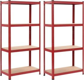 Prateleiras de Arrumação 2 pcs Vermelho 80x40x160 cm Aço e Mdf
