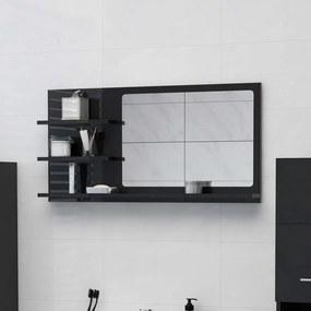 805022 vidaXL Espelho de casa de banho 90x10,5x45cm contrap. preto brilhante